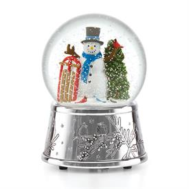"""_Snowmen & Sleigh Snowglobe silver plated -Plays """"Oh Christmas Tree"""" Height 5.5"""" MRSP $50 Made by Reed & Barton Stock #875195"""