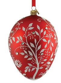 "_Red Mistletoe Egg Fine Handmade European Glass Ornament by Reed & Barton Height 4.5"" MSRP $70 Stock #875270"