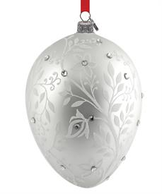"_Silver Mistletoe Egg Handmade European Glass Blown Ornament by Reed & Barton Height 4.5"" MSRP $70 Stock #875268"