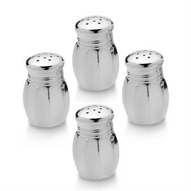 -730-4 SET OF 4 PEWTER SALT & PEPPER SHAKERS WITH GLASS LINERS.