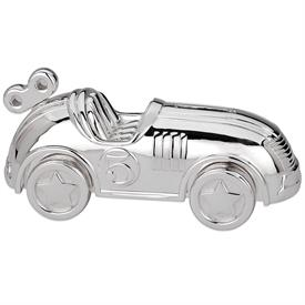 "-:RACE CAR BANK. SILVERPLATE. 6.75"" LONG. BREAKAGE REPLACEMENT AVAILABLE."