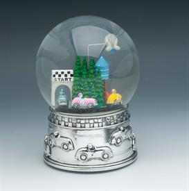 "-SILVERPLATE MUSICAL WATER GLOBE. PLAYS 'THE STAR SPANGLED BANNER'. CARS MOVE AROUND THE TRACK. 6.5"" TALL"