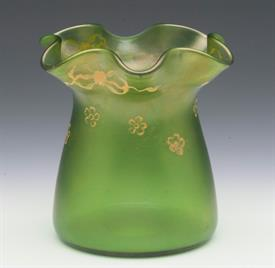 ",LOETZ SMALL GREEN VASE. ""ORGANIC SHAPE"" WITH SMALL HAND PAINTED FLOWERS AND BOWS. 3.75"" TALL"