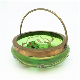 ",LOETZ PALLME KONIG IRIDESCENT GREEN BOWL WITH ENAMELED FLOWERS BRASS HANDLE 4.25""D X 1.75""H"