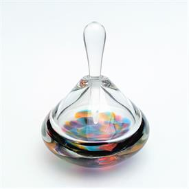 ",SIGNED IOAN NEMTOI BLOWN ART GLASS OVERSIZED PERFUME BOTTLE. 6.5"" WIDE, 9"" TALL WITH STOPPER"