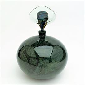 ",SIGNED IOAN NEMTOI BLOWN ART GLASS OVERSIZED PERFUME BOTTLE. 6.5"" WIDE, 9.25"" TALL WITH STOPPER"