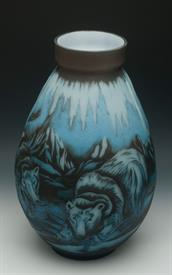 ",GALLE REPRODUCTION POLAR BEAR 17.25""T VASE"