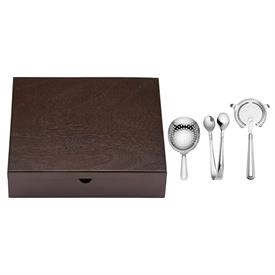 -AUGUST 3-PIECE JULEP STRAINER, HAWTHORNE STRAINER, & ICE TONGS SET. STAINLESS STEEL
