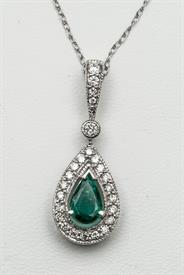 14K WHITE GOLD .30 CARAT EMERALD AND .40 CARAT DIAMOND PENDANT