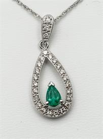 14K WHITE GOLD .48 CARAT EMERALD AND .31 CARAT DIAMOND PENDANT