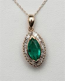 14K YELLOW GOLD 2.43 CARAT EMERALD AND .57 CARAT DIAMOND PENDANT