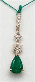 14K YELLOW GOLD 1.30 CARAT EMERALD AND .33 CARAT DIAMOND PENDANT