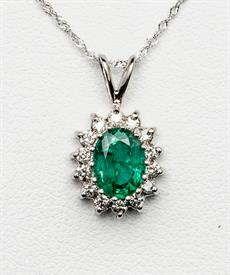 18K WHITE GOLD EMERALD AND DIAMOND PENDANT