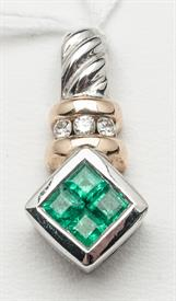 14K WHITE AND YELLOW GOLD EMERALD PENDANT