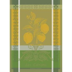 "-,CITRON ZESTE KITCHEN TOWEL. TWO-PLY, MERCERIZED 100% COTTON. MADE IN FRANCE. 22""x30""."