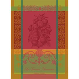 "-,OLIVIER VERT BRUMEUX KITCHEN TOWEL. 22""x30"". MADE IN FRANCE WITH TWO-PLY, TWISTED, MERCERIZED, 100% COTTON."