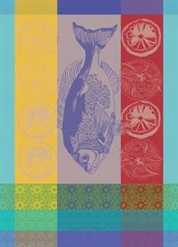 "-,PLANCHA TURQUOISE KITCHEN TOWEL. MADE IN FRANCE WITH TWO-PLY, TWISTED, MERCERIZED 100% COTTON. 22""x30"""