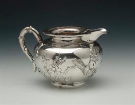 """,CREAM PITCHER CHINESE EXPORT SILVER MARKED """"LC&CO"""" WITH CHINESE CHARACTERS 6.75 TROY OUNCES 3.3"""" HIGH BY 5"""" ACROSS JAPANESE BIRD DESIGN"""