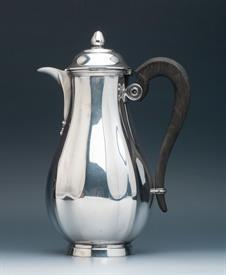 """,Christofle Sterling Silver Coffee Pot with black ebony handle - 22.80 troy ounces 9.5"""" tall nice condition"""