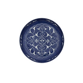-SINGLE 'ORIENTAL BLUE' CANAPE PLATE, 5.5""