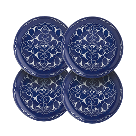 -SET OF 4 'ORIENTAL BLUE' CANAPE PLATES, 5.5""