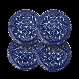 "-SET OF 4 'ORIENTAL BLUE' CANAPE PLATES, 5.5"""