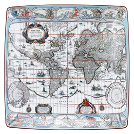 -,SQUARE TRAY, BLAEU MERCATOR MAP. 8.25""