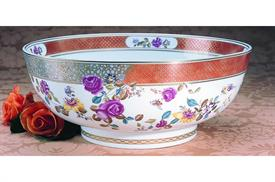 "-FAMILLE ROSE PUNCH BOWL. 14.75"" WIDE, 6.25"" TALL"