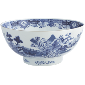 "-NATIONAL TRUST BLUE & WHITE PUNCH BOWL. 15.5"" WIDE"
