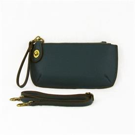 "-PEACOCK MINI CROSSBODY WRISTLET CLUTCH. 9.5"" WIDE, 5"" TALL, 1"" WIDE, 25.5"" STRAP"