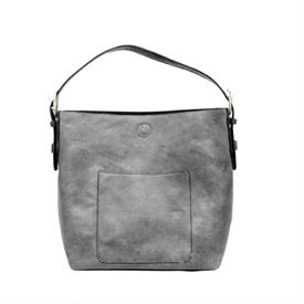 "-GREY & BLACK CLASSIC HOBO BAG. 14"" WIDE, 12"" TALL, 6"" THICK, 6-11"" STRAP"