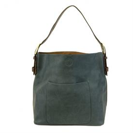 "-,DARK TEAL CLASSIC HOBO BAG. 14"" WIDE, 12"" TALL, 6"" THICK, 6-11"" STRAP"