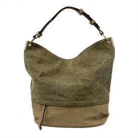 "-,OLIVE BUCKET HANDBAG WITH DISTRESSED TRIM. 18"" WIDE, 13"" TALL, 14-15"" STRAP"