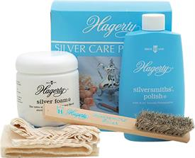 -4 PIECE SILVER CARE PACKAGE: 8 OZ. SILVERSMITH POLISH, 7 OZ. SILVER FOAM, 1 HORSEHAIR BRUSH, 1 POLISHING CLOTH