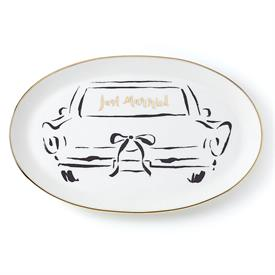 """-OBLONG DISH, 'JUST MARRIED'. 10.5"""" LONG, 6.75"""" WIDE. DISHWASHER SAFE. BREAKAGE REPLACEMENT AVAILABLE."""