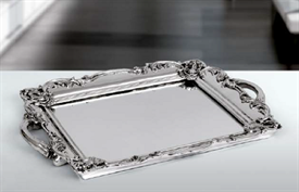 "-,#1 MIRRORED TRAY WITH HANDLES. 11 X 8.5"". SILVER OVER RESIN"