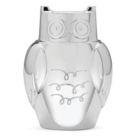 """-,OWL BANK. SILVER PLATE. 5.5"""" TALL"""