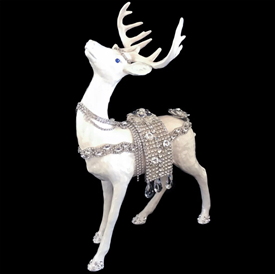 "_,PEARL CRYSTALIZED REINDEER STANDING UP. SWAROVSKI CRYSTAL. MADE IN THE USA. 12.55"" TALL, 8.5"" LONG, 4.5"" WIDE"