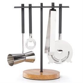 "_5 PIECE BAR TOOL SET. INCLUDES BOTTLE OPENER, ICE TONGS, JIGGER, STRAINER, & STAND. MANGO WOOD & STAINLESS STEEL. 10.5"" TALL. MSRP $117.00"