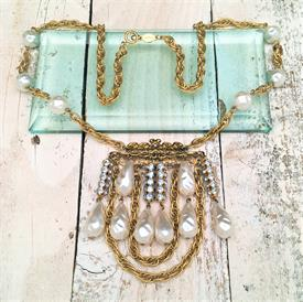 ",SIGNED FREIRICH GOLDTONE STATEMENT NECKLACE WITH FAUX PEARLS & PALE BLUE RHINESTONES. CA. 1960'S-1970'S. 26"" LONG WITH 3.5"" DANGLE"