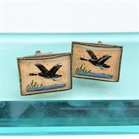 """,VINTAGE REVERSE CARVED & PAINTED INTAGLIO CUFFLINKS WITH DUCKS OVER LAKE. .8"""" WIDE, .6"""" TALL"""