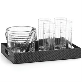 "-,BAR SET WITH LEATHER TRAY. INCLUDES 4 HIGHBALL GLASSES, ICE BUCKET WITH TONGS, & 14"" LEATHER TRAY WITH HANDLES."
