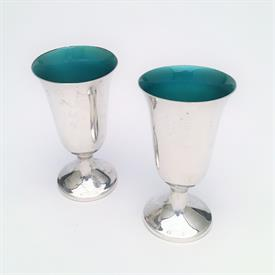 """,PAIR OF TOWLE STERLING SILVER & GREEN ENAMEL LINED CORDIAL GLASSES. STYLE 024. 3"""" TALL. APPROX. 2.4 TROY OUNCES"""