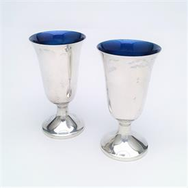 """,PAIR OF TOWLE STERLING SILVER & COBALT ENAMEL LINED CORDIAL GLASSES. 3"""" TALL. STYLE 024. APPROX. 2.4 TROY OUNCES"""