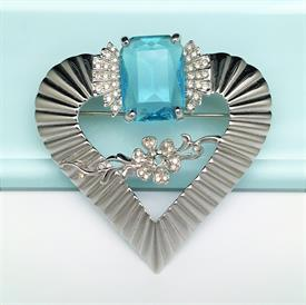 ",SIGNED ALANA STEWART HEART & FLOWER BROOCH WITH LARGE AQUA CRYSTAL. 2.75"" WIDE"