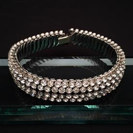 ",VINTAGE 'HERFLEX' CLEAR RHINESTONE EXPANSION CHOKER/NECKLACE. 11"" AT REST, 27"" LONG AT FULL LENGTH. CA. 1950'S"