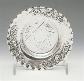 ",DISH 4.75"" DIAMETER 800 FINE SILVER 80% JUDAIC THEME WITH STAR OF DAVID"