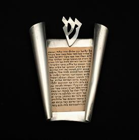 """,SCROLL MEZUZAH - MADE IN ISRAEL - STERLING SILVER. 2 5/8"""" X 1.75"""". 2 SMALL DENTS."""