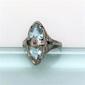 """,EDWARDIAN/EARLY ART DECO RHODIUM PLATED FILIGREE BRACELET WITH CLEAR RHINESTONES. 2.4"""" WIDE AT CENTER"""