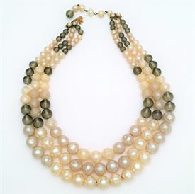 ",SIGNED DE MARIO TRIPLE STRAND FAUX PEARL & GREY BEAD NECKLACE. 12.25"" LONG WITH 3"" EXTENDER. CA. 1945-1965"